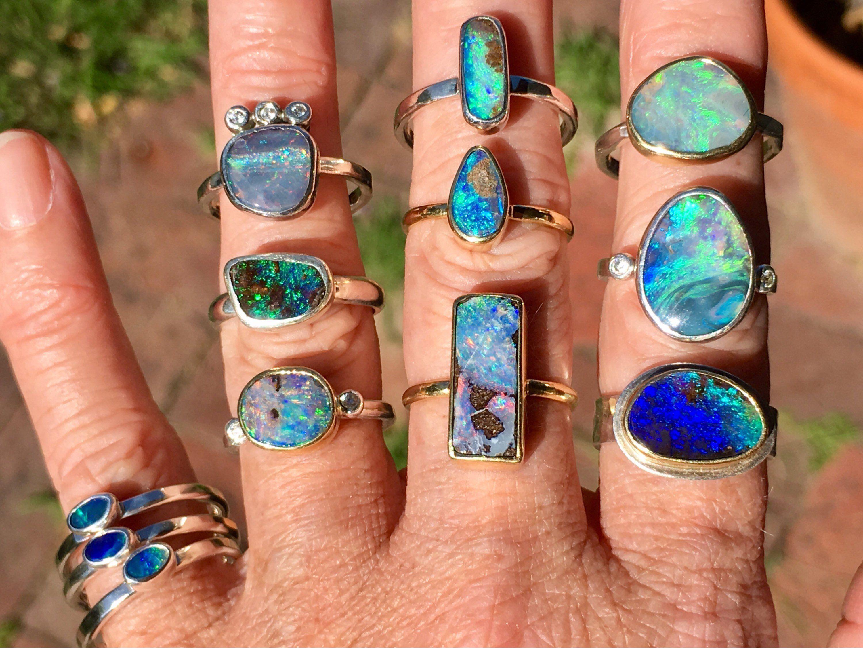 Boulder Opal Ring Sterling Silver Bezel Set Womens Opal Ring  Australian Opal Ring  Opal Jewelry  Natural Gemstone Ring  Adjustable