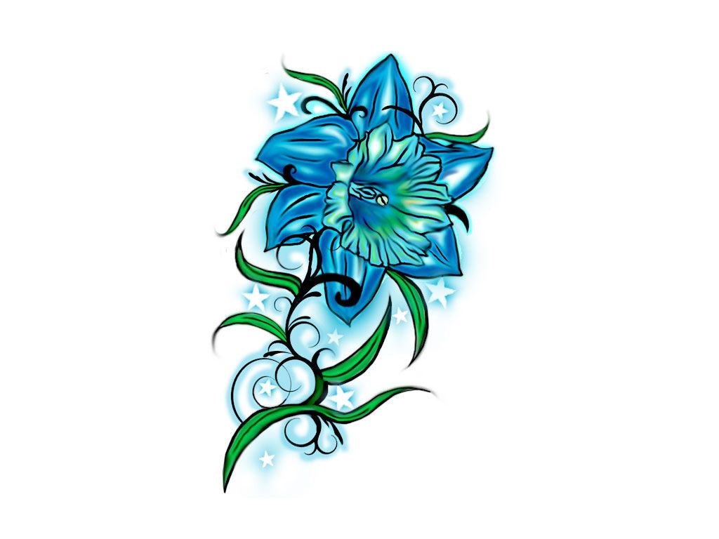 Flower Drawings For Tattoos Free Designs Beutiful Blue