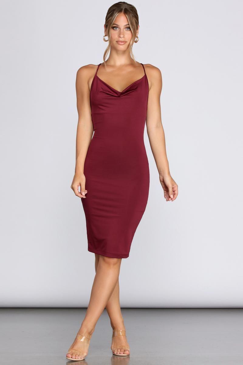 Night Moves Cowl Neck Dress Cowl Neck Dress Dresses Knee Length Dresses