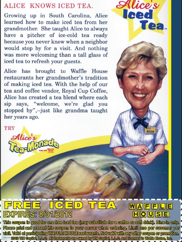 Free iced tea or coffee at Waffle House coupon via The