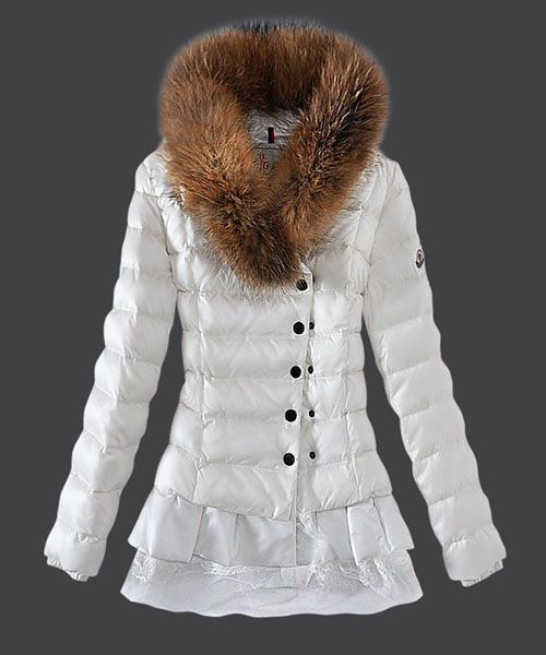 2013 New Moncler Women Down Jacket Single Breasted Lace White [2781893] - £211.83 :