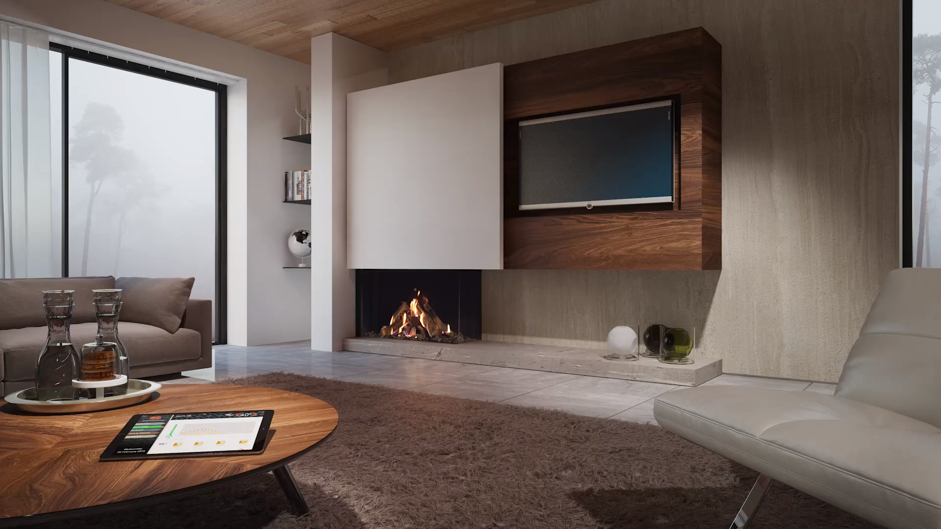 Photo of Dru Maestro 105/2 Eco Wave | Built-in gas fireplace right corner
