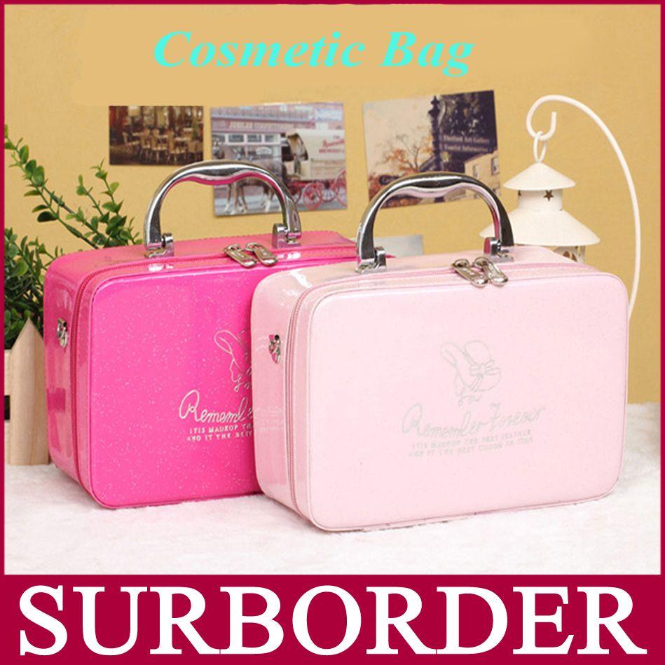 2015 Korean Style Brand Women PU Leather Cosmetic Bag Cute