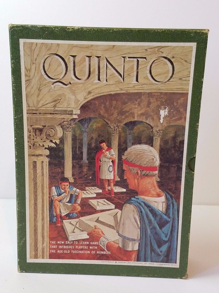 Vintage 1968 3M Quinto Bookshelf Board Game 100 Complete Unused Math Strategy