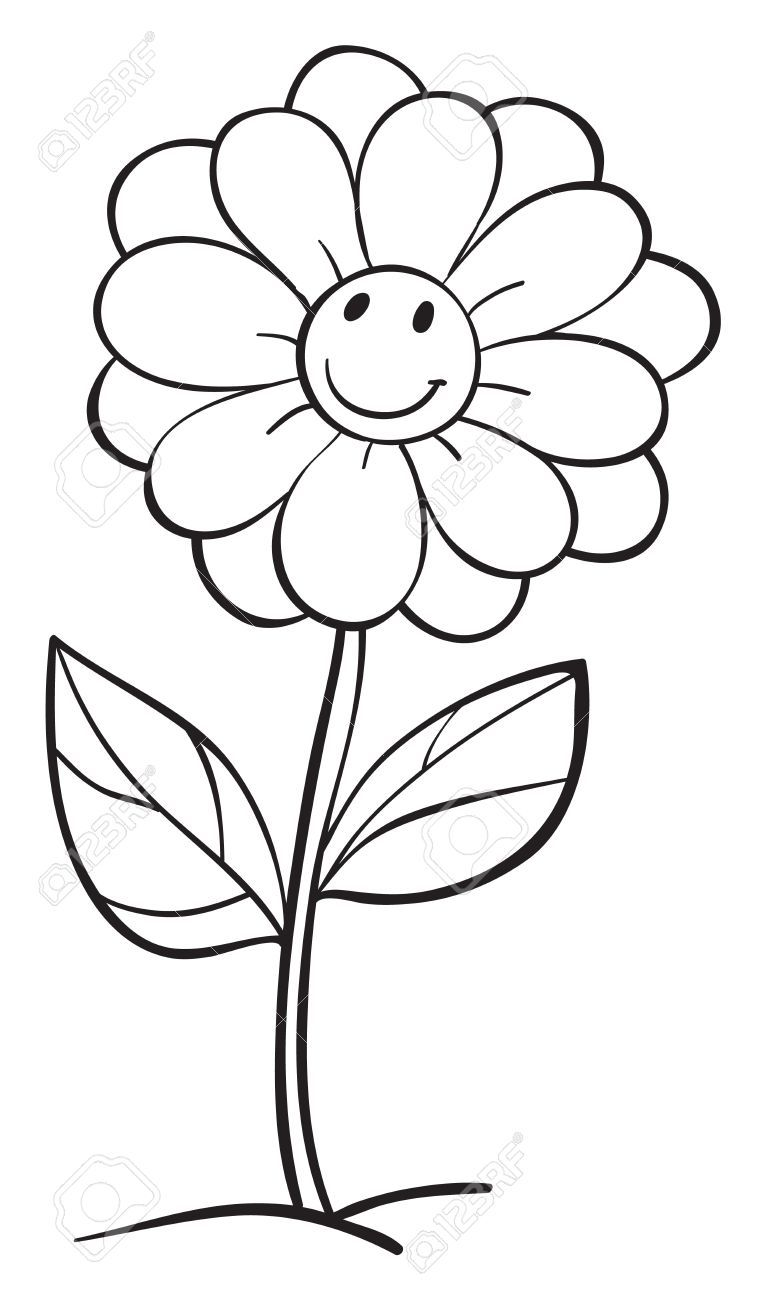 Illustration d 39 une fleur sur un fond blanc fleurs papier pinterest fond blanc fleurs et - Colorier une fleur ...