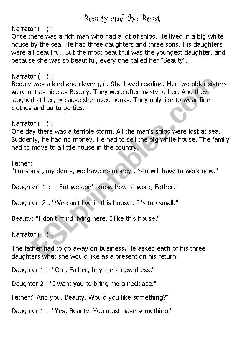 Beauty And The Beast A Play Script For Elementry Level Esl Worksheet By Ms Fadia Play Scripts For Kids Acting Scripts Beauty And The Beast [ 1169 x 821 Pixel ]