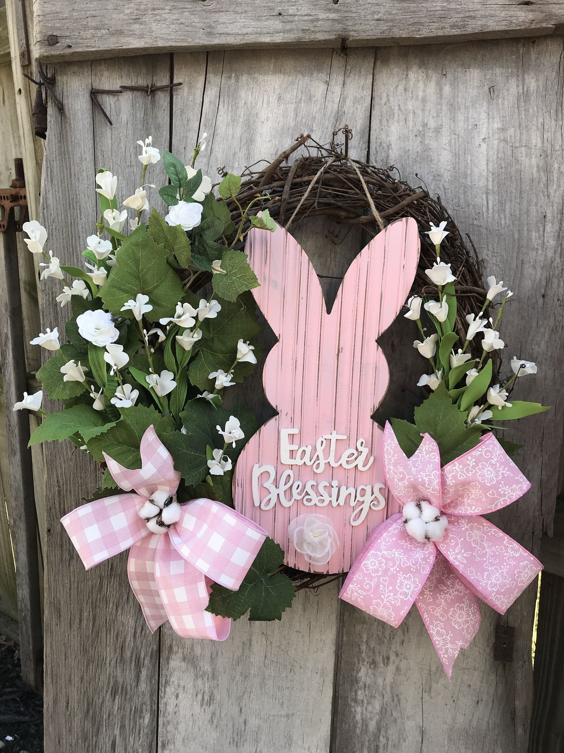 Photo of Pink Bunny for Easter with white accents Grapevine Wreath for Door. Wreaths, wreaths for front door,  farmhouse, christmas