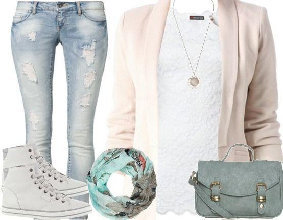 Freizeitoutfit ♥ Hier kaufen: http://stylefru.it/s63634 #Blazer #Used Look #Sneaker