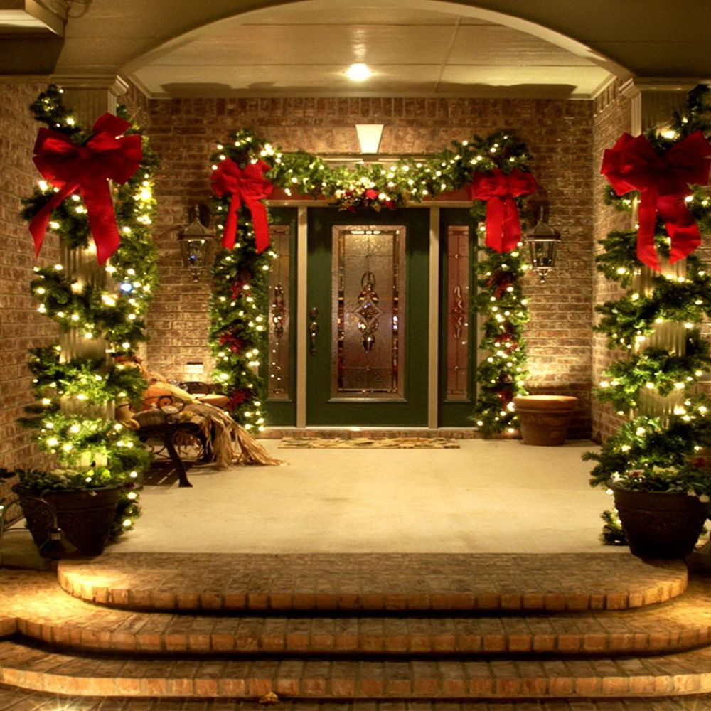 christmas porch decoration ideas with string lightsjpg 1000 - Christmas Front Porch Decorations Pinterest