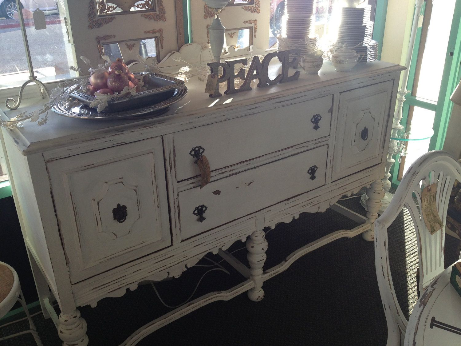 Antique Vintage 1930u0027s Buffet Table White Chalk Paint Shabby Chic