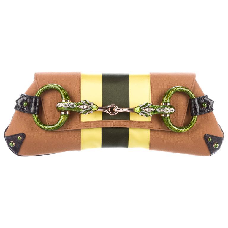 b047b1e14186 Gucci Tom Ford SS 2004 Striped Canvas Crocodile Jeweled Snake XXL Clutch Bag  | From a