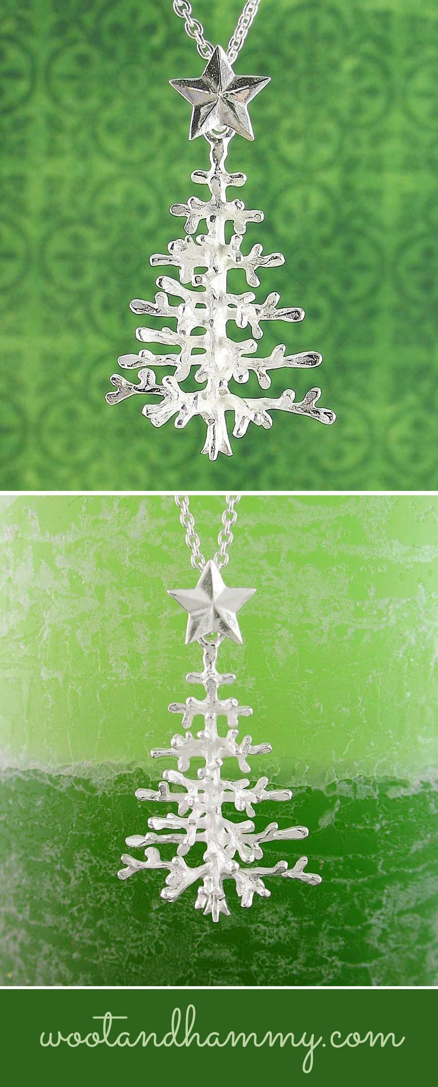 Christmas Tree Necklace With Snowy Branches Christmas Tree Necklace Natural Christmas Tree Natural Christmas