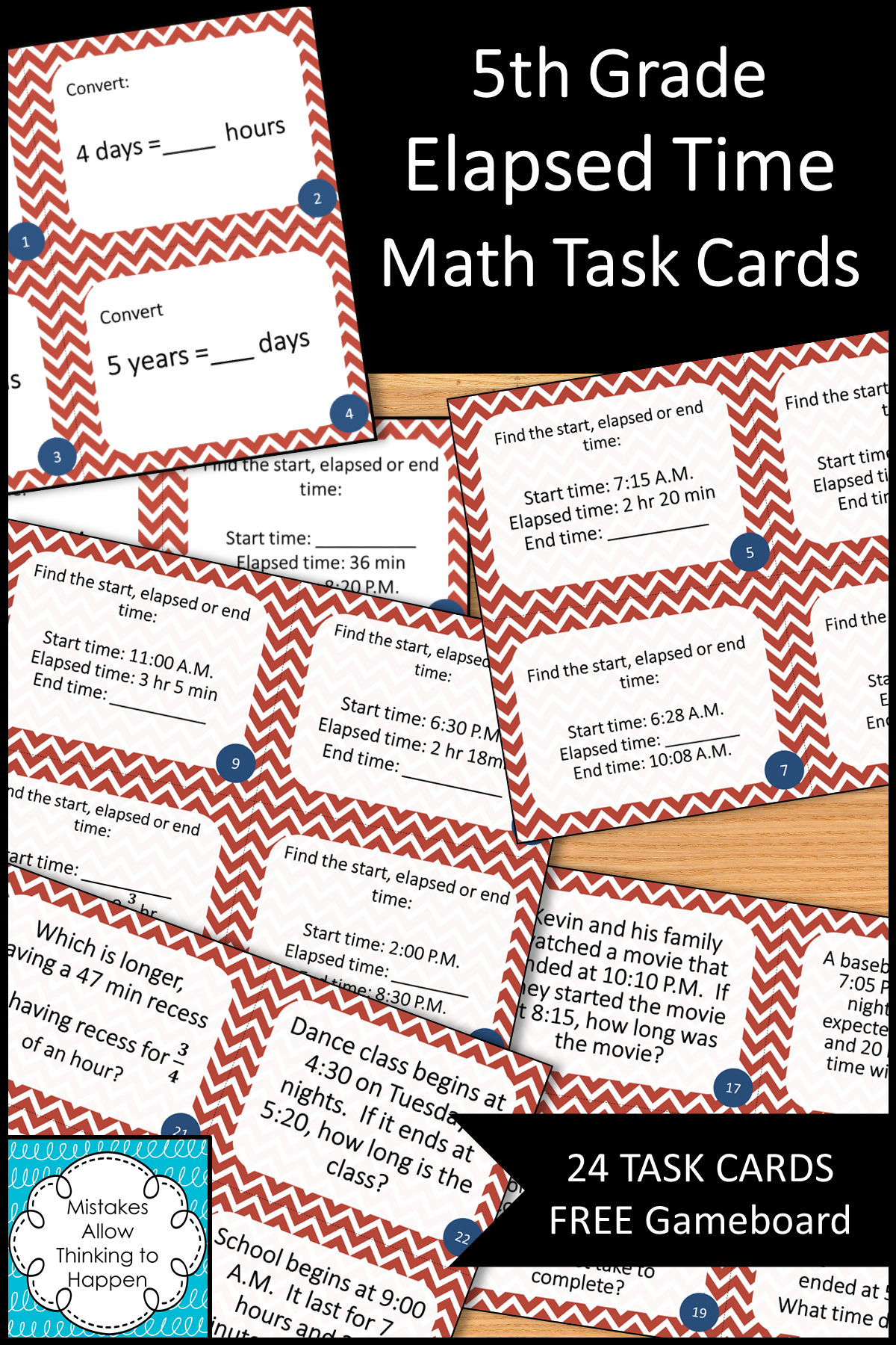5th Grade Elapsed Time Math Task Cards