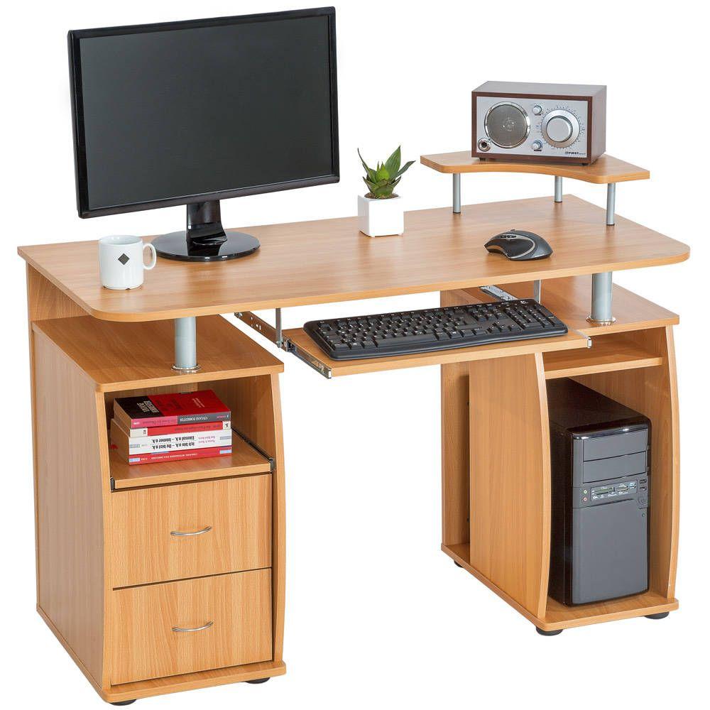 computertisch 115x55x87cm buche b ro tisch schreibtisch und buero. Black Bedroom Furniture Sets. Home Design Ideas