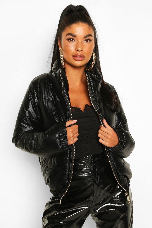Petite Metallic Puffer Jacket Boohoo Puffer Jackets Puffer Jacket Black Jackets [ 1500 x 1000 Pixel ]