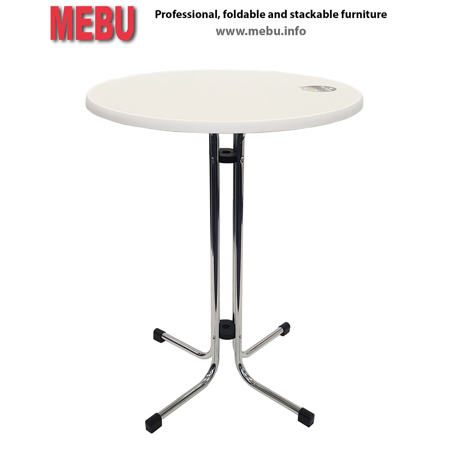 chromated party table limburg with Ø85cm sevelit table top white