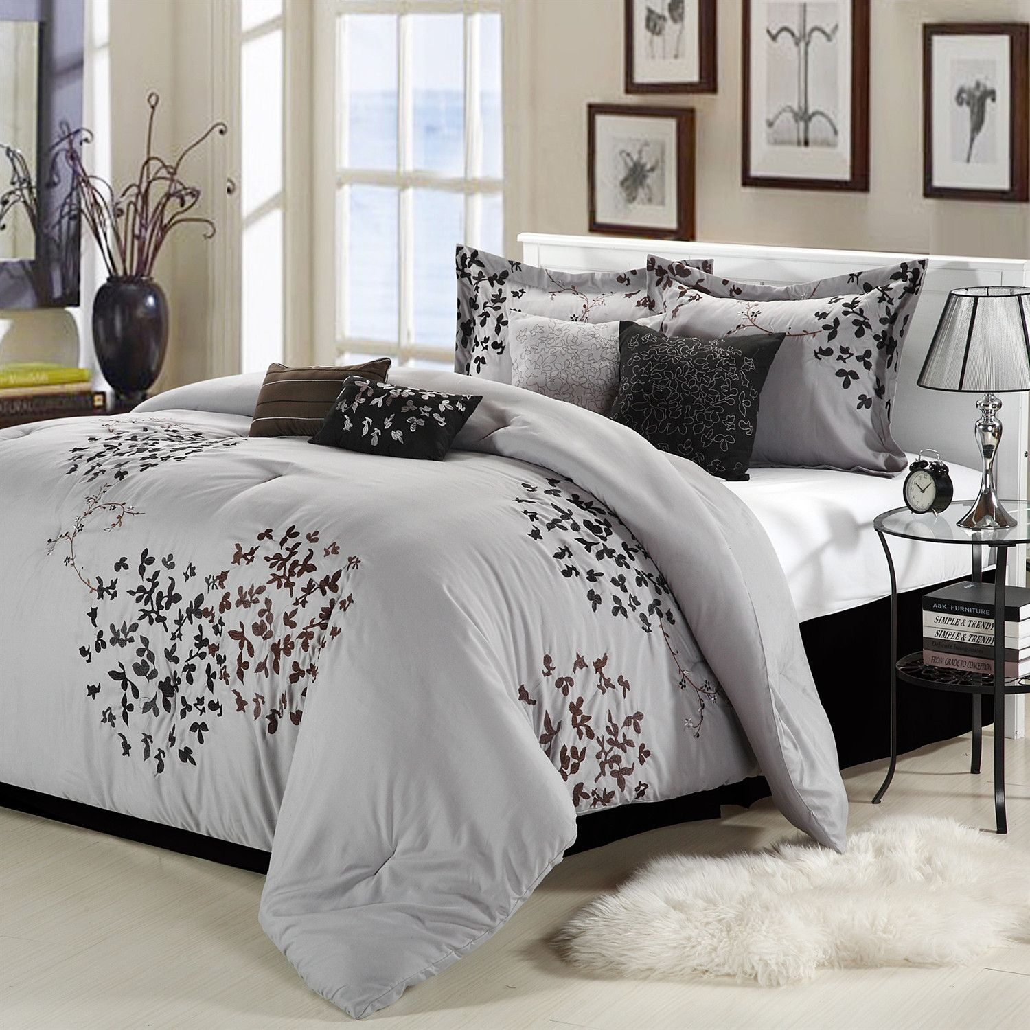 Bedding jardin collection bedding collections bed amp bath macy s - Queen Size 8 Piece Comforter Set In Silver Gray Black Brown Floral