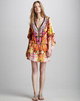 T56KR Camilla Embellished Drawstring Dress, Maze