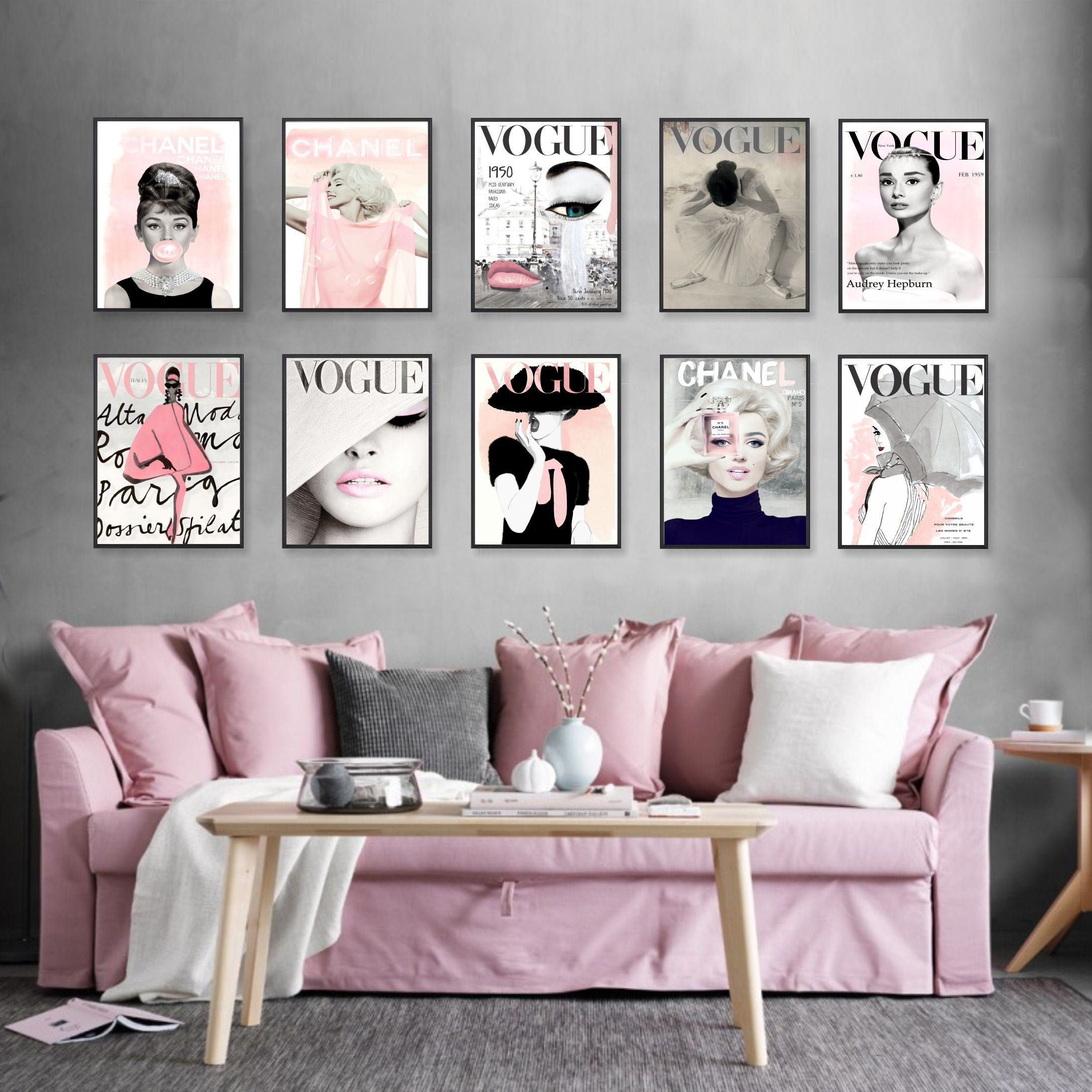 Fashion Wall Art Set Of 10 Beautiful Watercolor Fashion Wall Decor Vogue Chanel Marilyn Fashion Wall Decor Fashion Wall Art Bedroom Decor Fashion Room