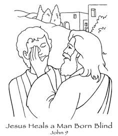 free coloring pages printable Jesus heals the blind man  jesus