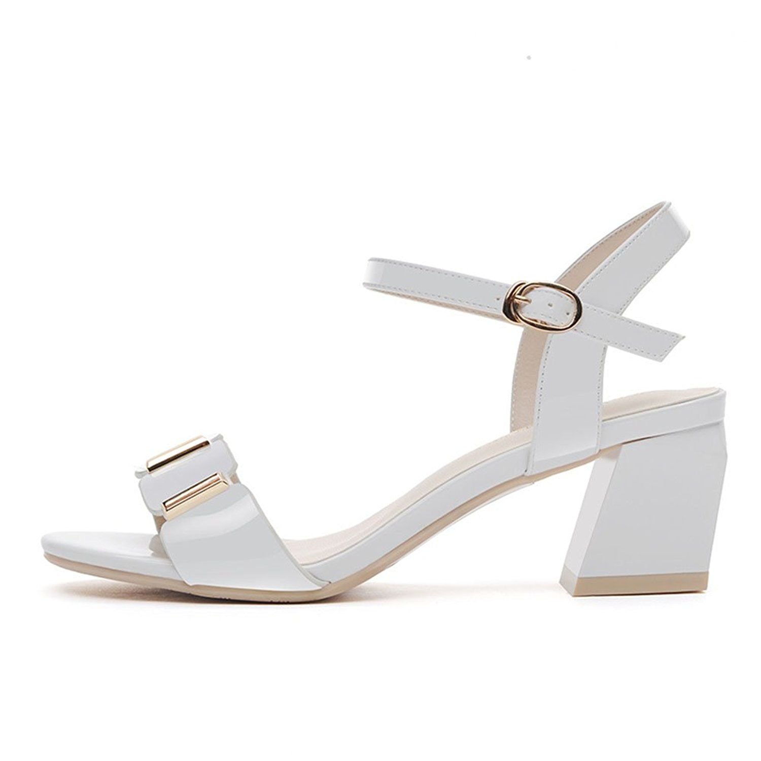 504ef19465e2e3 Summer Thick With OpenToed Metal Clasp Sandals Outdoor Woman LowHeeled Shoes  White -- Continue to the product at the image link.