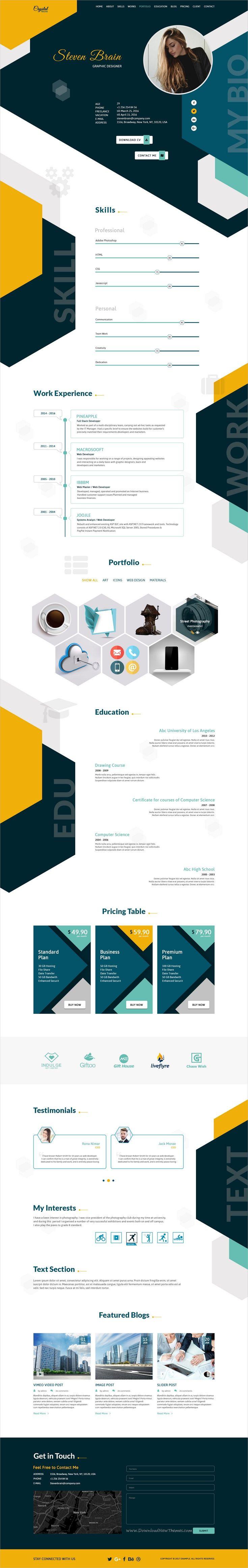 Crystal resume cv psd template cv website cv web