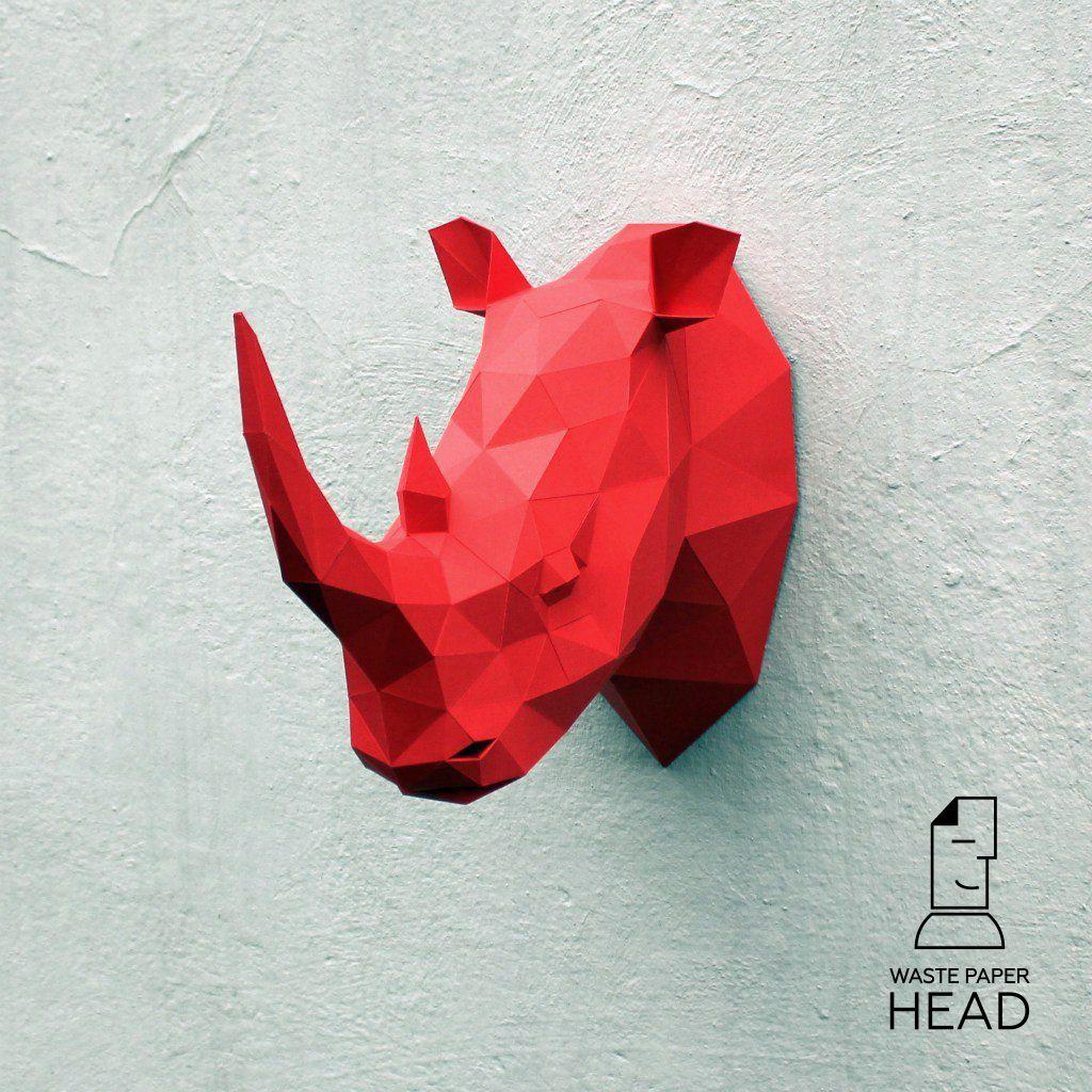 Papercrafr Rhino Head For Wall Decoration Buy Diy Template On Etsy Com Shop Wastepaperhead Paper Crafts Rhino Diy Printables
