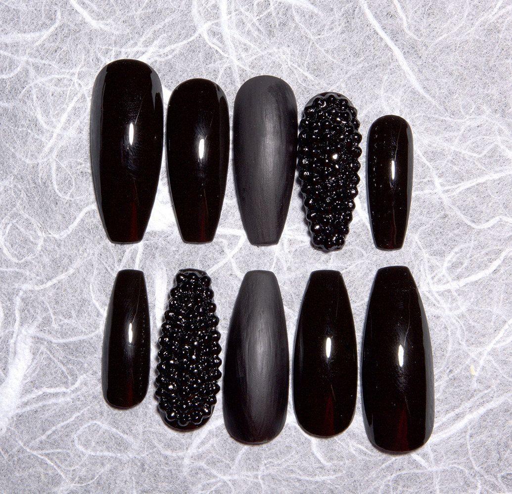 Black Fake Nails with Rhinestones | Matte Black Fake Nails | Black ...