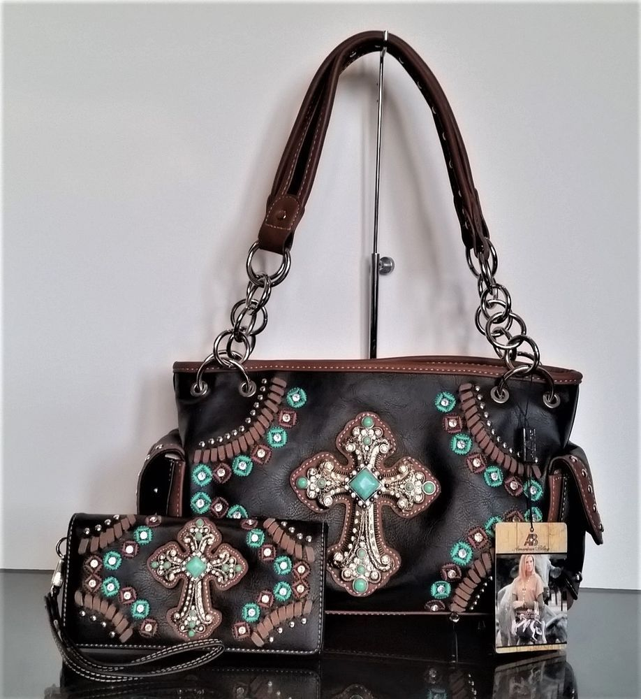 Montana West Turquoise Cross Crossbody Bag Matching Wallet Western Country Purse