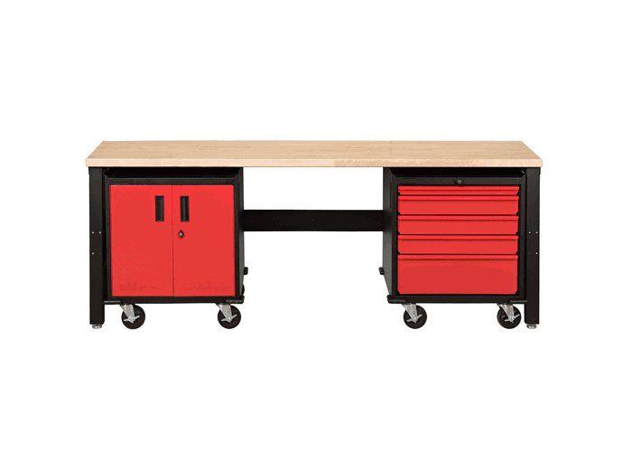3 piece modular garage organization car guy garage red for Modular 3 car garage