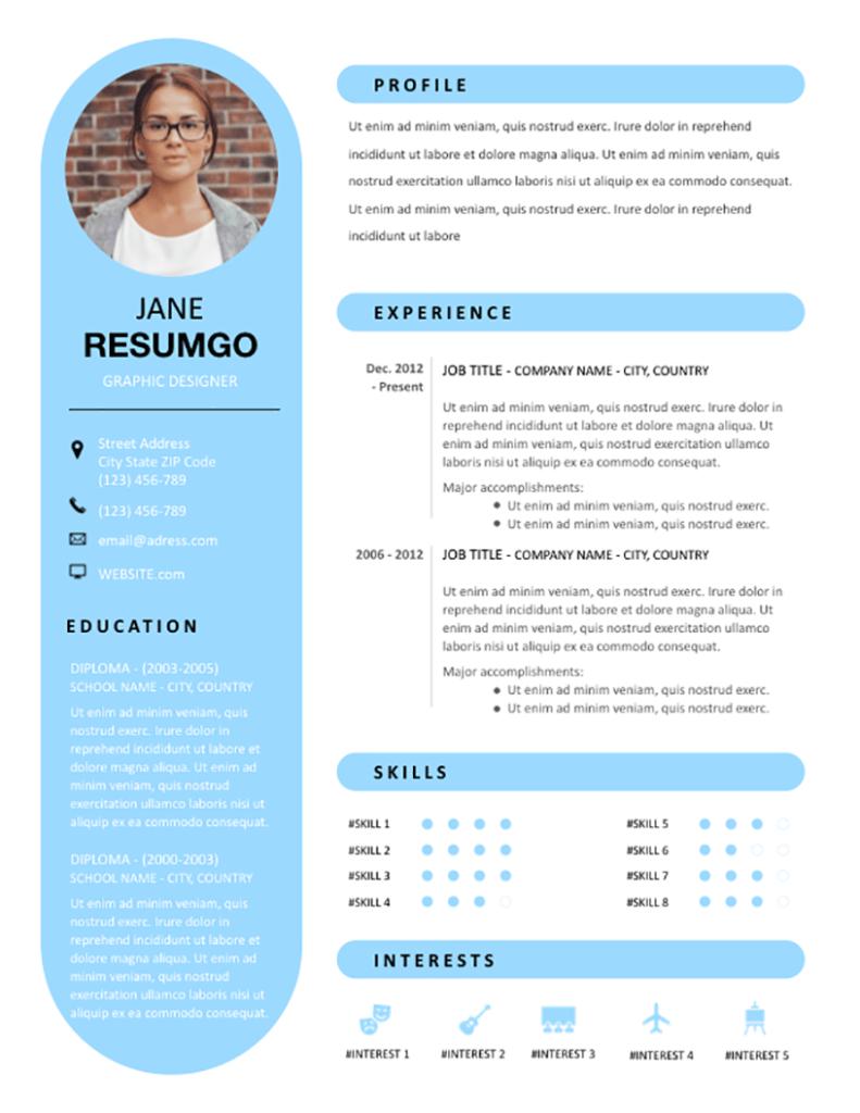 Rhea Free Round Resume Template Resumgo Resume Design Template Cv Design Resume Template