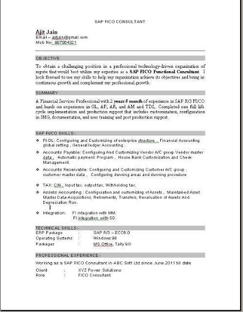 SAP FICO Consultant Resume Download  SAP  Sample resume