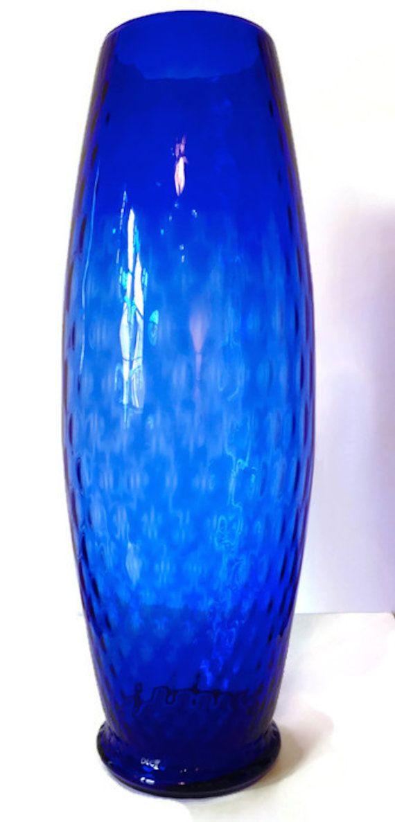 A Vintage Blue Vase Tall And Slim 1960s By Abundantartsvintage