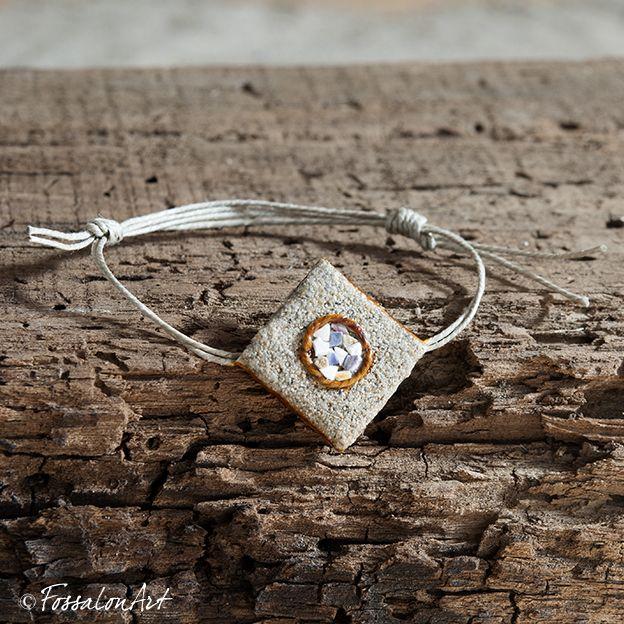 Bracelet. Hemp twine, sand and seashells' chips.   Handamade by FossalonArt