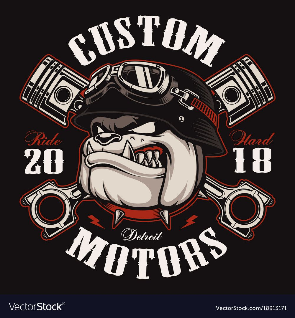Bulldog biker with crossed pistons. Vector illustration