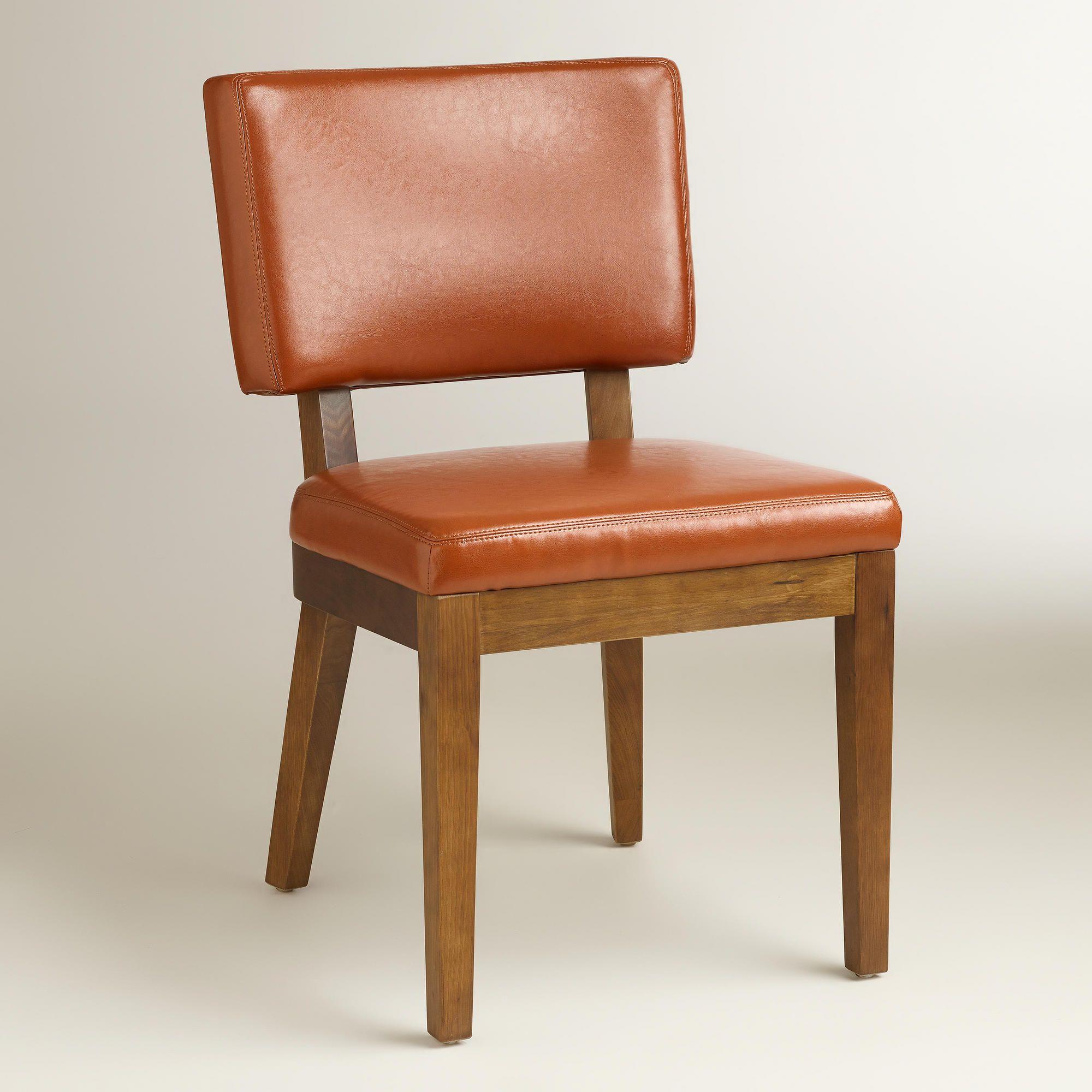 Attirant Cognac Bonded Leather Sophia Chairs, Set Of 2 | World Market