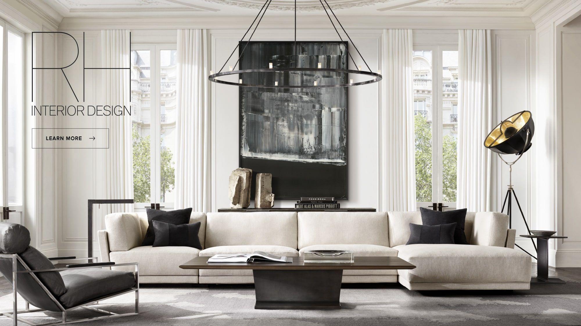 rh modern homepage  modern classic living room