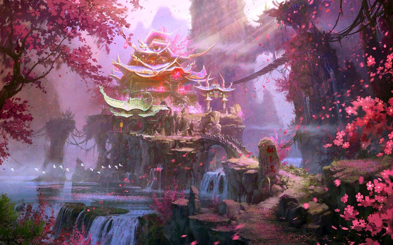 Island Of Peach Blossoms Computer Wallpapers Desktop Backgrounds 1440x900 Id 296286 Fantasy Landscape Landscape Wallpaper Anime Scenery