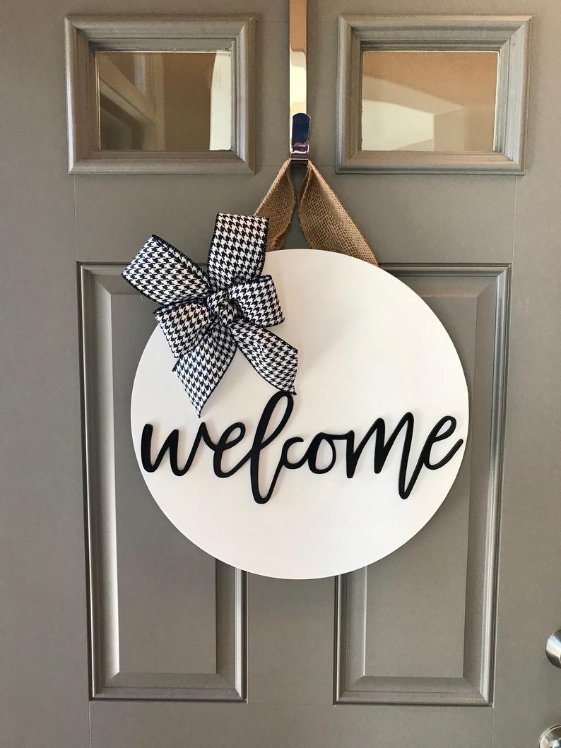 Welcome Door Sign Welcome Door Hanger Front Door Decor Etsy Welcome Door Front Door Decor Welcome Door Signs