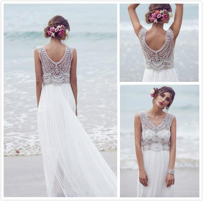 Anna Campbell Beach Wedding Dresses 2016 A Line V neck Pearl Beads ...