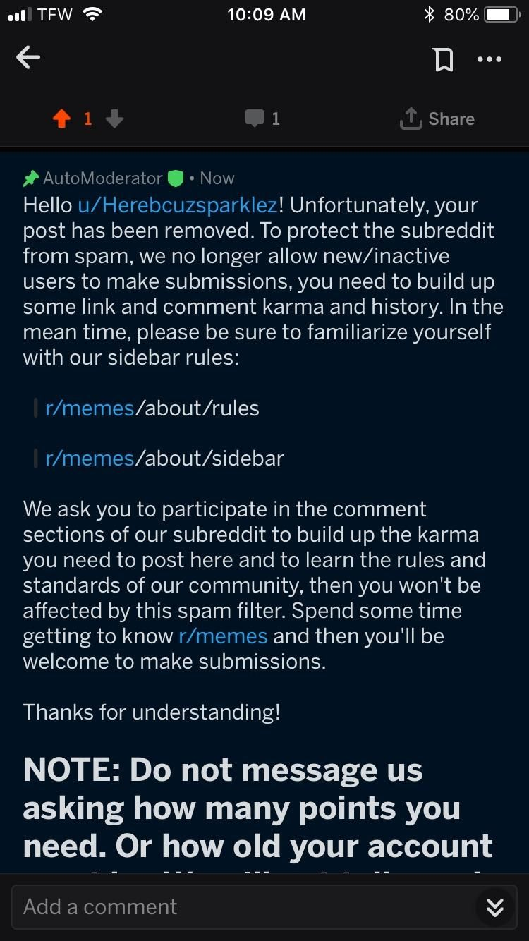 A Reddit bot deleted my post because I'm not popular enough   Mildly