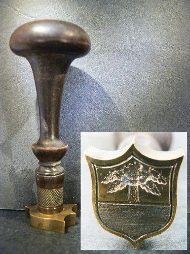 Cachet Sceau bronze armoiries ecu Suisse seal petschaft sigillo.