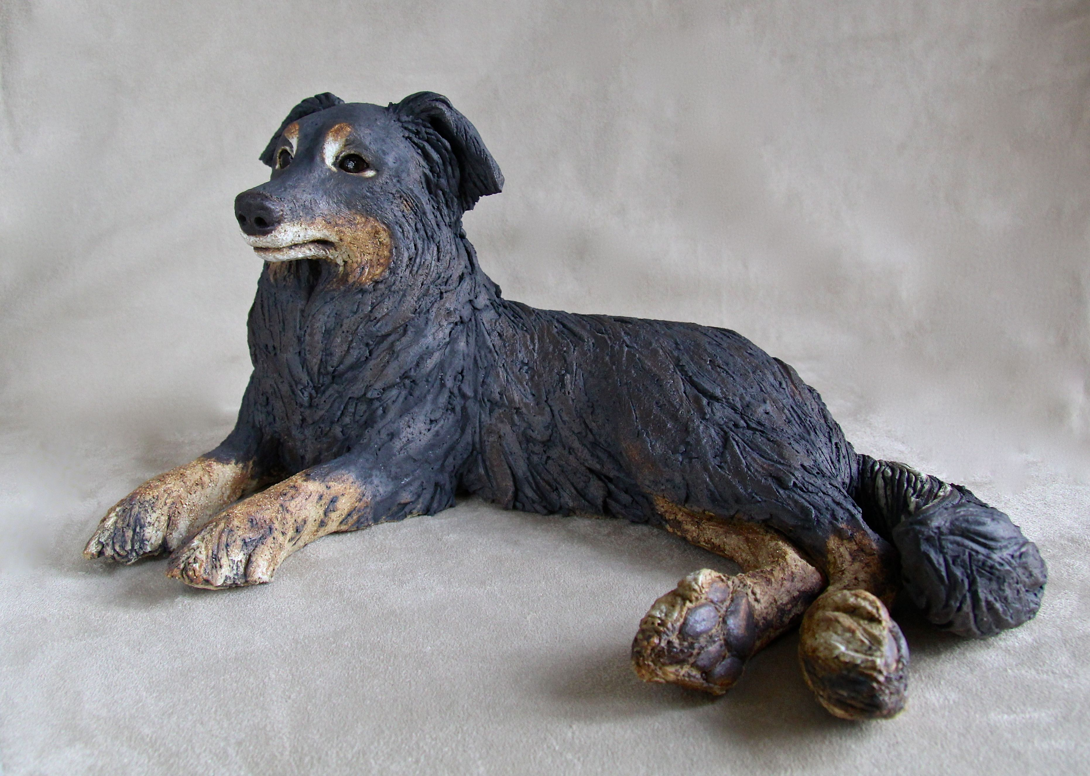 Collie Cross Commission - Ceramic stoneware with oxide glaze