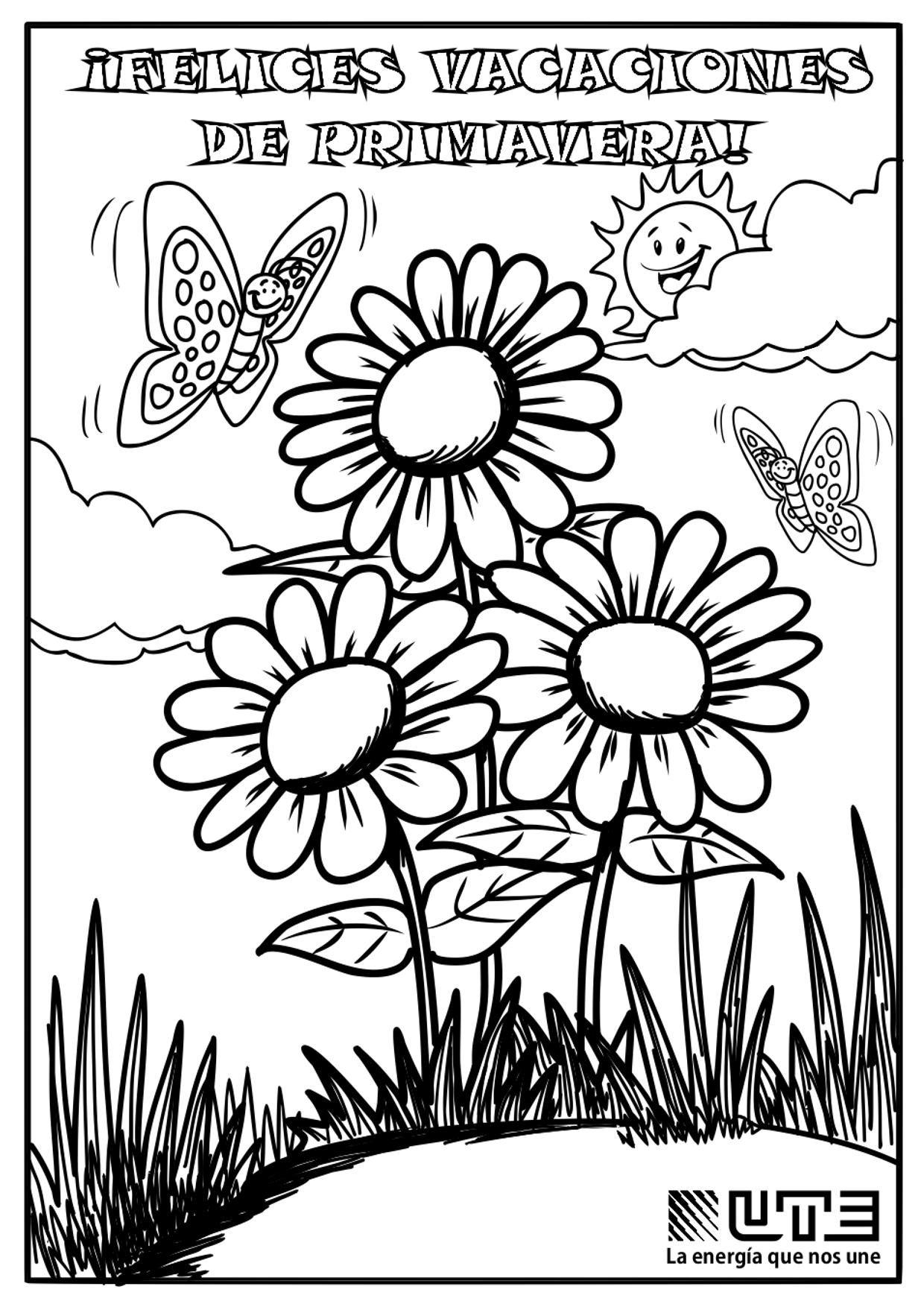 A4 Dibujo Primavera para colorear.jpg (1240×1754)   Jardín de ...