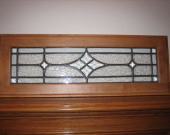 Transom Stained Glass Window Panel W Bevels Crystal Clear Glass Textures Approx Size 24 X 7 In 2020 Stained Glass Window Panel Window Stained Leaded Glass Door