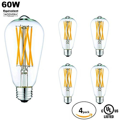 4 Pack Modvera 60w Equivalent Led Antique Edison Bulb St64 Xstyle Filament Bulb 6 Watt 2200k Vintage W Edison Light Bulbs Vintage Lamps Filament Bulb Lighting