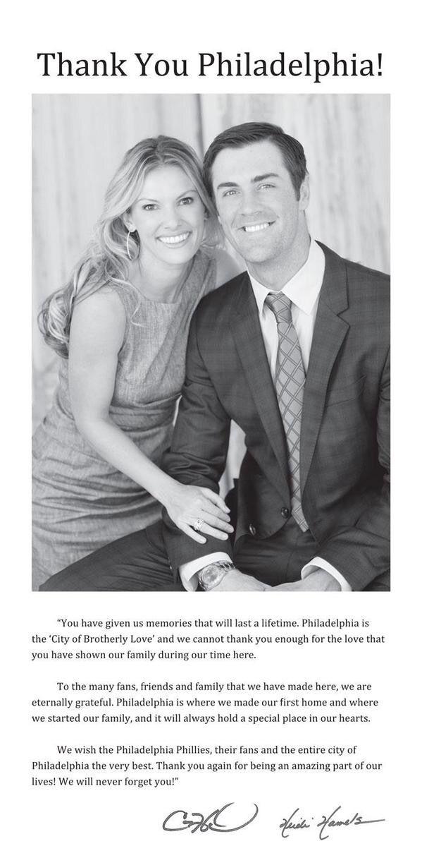 Cole Hamels Philadelphia Inquirer Good Bye Ad