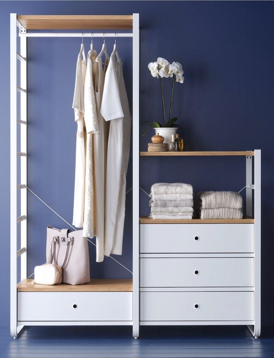Ikea Elvarli White Bamboo 2 Section Closet Organizer In 2020 Ikea Schranksystem Offenes Regal Ikea Elvarli