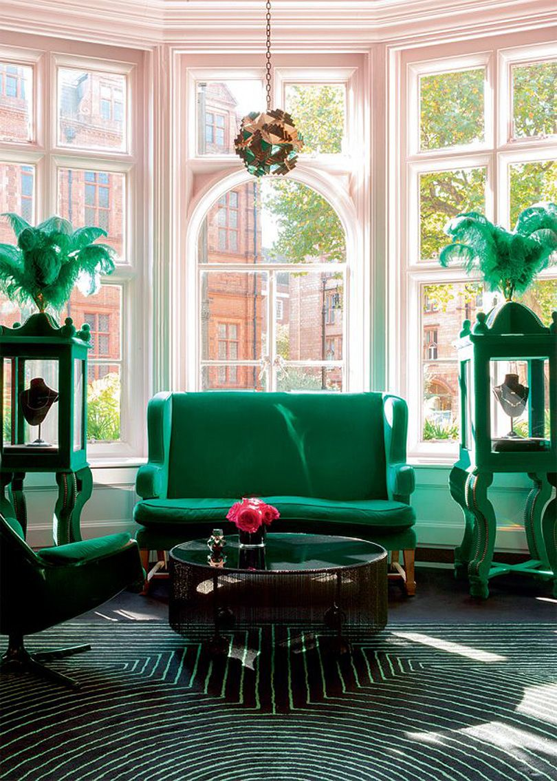 Green Drawing Room: Emerald Green In The Colorful Home Of Solange Azgury