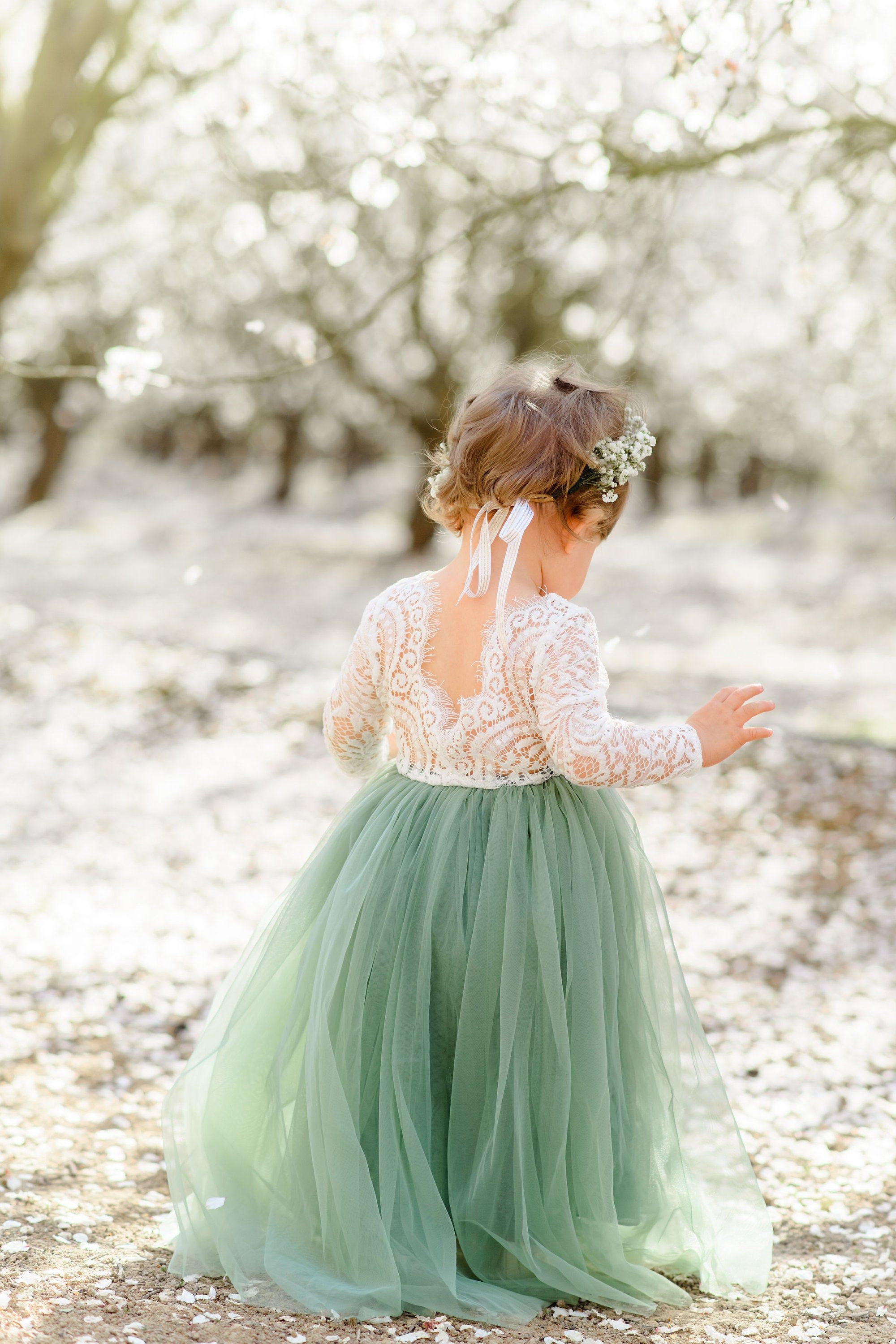 Full length sage green tulle lace top scalloped edges back